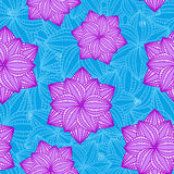 Seamless Pattern with Flowers on Blue Background Stock Photos