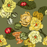 Seamless pattern with flowers branch and ladybird Stock Photo
