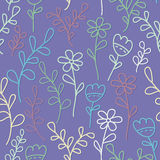 Seamless pattern with flowers and branches. Lilac background. Stock Images