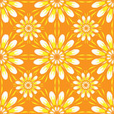 Seamless pattern with flowers. Bright orange vintage texture. Royalty Free Stock Photography