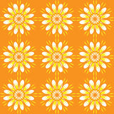 Seamless pattern with flowers. Bright orange vintage texture. Stock Image