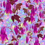 Seamless pattern. Flowers, buds and leaves - drawing by watercolor. Aquilegia.Watercolor background. Abstract wallpaper with flor. Flowers, buds and leaves Stock Images