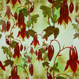 Seamless pattern. Flowers, buds and leaves - drawing by watercolor. Aquilegia.Watercolor background. Abstract wallpaper with flor Royalty Free Stock Photos