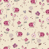 Seamless pattern with flowers and bugs. Doodle seamless pattern with flowers and bugs Royalty Free Stock Images