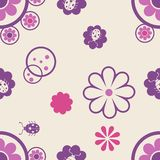 Seamless pattern with flowers and bugs Stock Photo