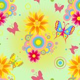 Seamless  pattern with  flowers and butterflies . Stock Photography