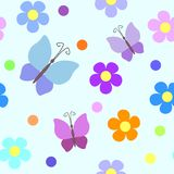 Seamless pattern with flowers and butterflies. Seamless pattern with flowers, rounds and butterflies Stock Image
