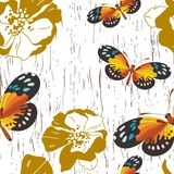 Seamless pattern with flowers and butterflies Royalty Free Stock Images