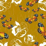 Seamless pattern with flowers and butterflies Stock Images
