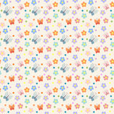 Seamless pattern with flowers and butterflies. In pastel colors Royalty Free Stock Images