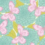 Seamless pattern with flowers and butterflies Royalty Free Stock Image