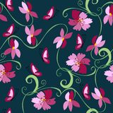 Seamless pattern with flowers and butterflies. Stock Photo
