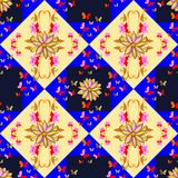 Seamless pattern with flowers and butterflies on geometric background Stock Image