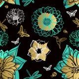 Seamless pattern flowers, butterflies, hummingbirds Stock Photo