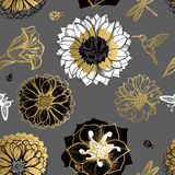 Seamless pattern flowers, butterflies, hummingbirds, dark background. Stock Photo