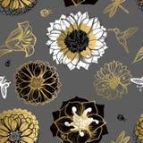 Seamless pattern flowers, butterflies, hummingbirds, dark background. Stock Photo