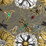 Seamless pattern flowers, butterflies, hummingbirds, dark background. Gold flowers, black elements,flower line,gold thread pattern,gold seamless lace.Spring Stock Photography