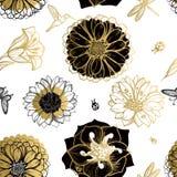 Seamless pattern flowers, butterflies, hummingbirds, dark background. Royalty Free Stock Photos