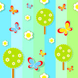 Seamless pattern with flowers and butterflies trees. Royalty Free Stock Images