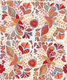 Seamless pattern with flowers and butterflies in white background Royalty Free Stock Photography