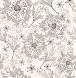 Seamless pattern with flowers and butterfly Stock Images