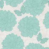 Seamless pattern with flowers and butterfly . Floral ornament.Hand-drawn contour lines and strokes. Stock Image