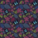 Seamless  pattern with flowers and butterfly. Endless texture for your design Stock Images