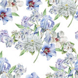 Seamless pattern with flowers. Chrysanthemum. Iris. Hyacinth. Watercolor illustration. Royalty Free Stock Photo