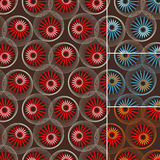 Seamless pattern of flowers and circles on brown Royalty Free Stock Photo