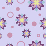 Seamless Pattern with Flowers and Circles. Pastel colored seamless pattern with abstract geometric flowers and circles Royalty Free Stock Photo