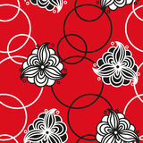 Seamless pattern with flowers and circles Royalty Free Stock Images