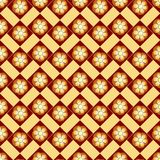 Seamless floral pattern. Regular texture. Yellow and brown color. Seamless pattern with flowers in color yellow and brown. Regular background. Use for packaging Stock Photography