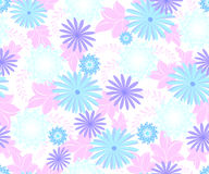 Seamless pattern with flowers cool blue shades on a homogeneous light background. EPS10 vector illustration Stock Image