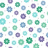 Seamless pattern with flowers in cool colors Stock Image