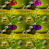 Seamless pattern with flowers on a cracked rough metal background Royalty Free Stock Images