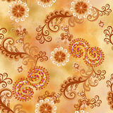 Seamless pattern with flowers and curls in mixed media Stock Images