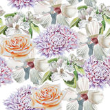 Seamless pattern with flowers. 3D illustration.  Rose.  Chrysanthemum. Blossom. Watercolor. Stock Image