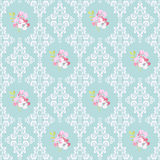 Seamless Pattern with flowers and damask elements Royalty Free Stock Photo