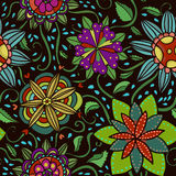 Seamless  pattern with flowers on dark background Stock Photo