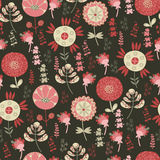 Seamless pattern with flowers on a dark background Stock Photography