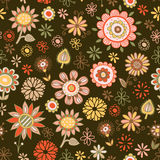 Seamless pattern of flowers on a dark background Stock Photography