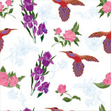 Seamless pattern with flowers. Decorative background with flowers and tropical bird stock illustration