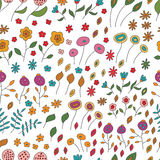 Seamless pattern of flowers of different colors on Royalty Free Stock Image