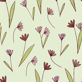 Seamless pattern with flowers in doodle style. vector illustration
