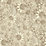 Seamless pattern with flowers, doodles, cucumbers Royalty Free Stock Image