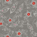 Seamless pattern with flowers, doodles, and rubies Royalty Free Stock Image