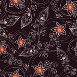 Seamless pattern with flowers, doodles, and rubies Stock Image