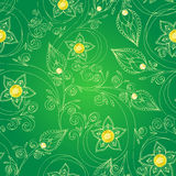 Seamless pattern with flowers, doodles, and rubies Royalty Free Stock Photography