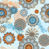 Seamless  pattern with flowers and dragon Royalty Free Stock Photos