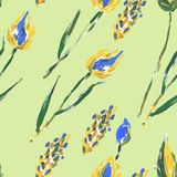 Seamless pattern with flowers and ears Stock Images